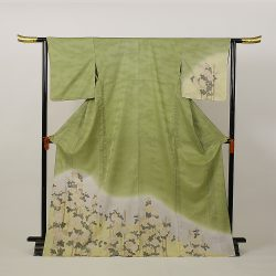 HH-No15  単衣 付下げ訪問着 緑菊