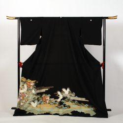 ht-No3   ひとえの留袖 (ゆったりサイズ) 鶴御所車