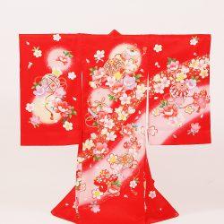 No3 赤地に毬と桜