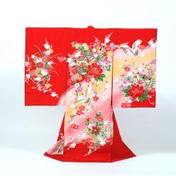 No9 赤地に鶴と糸巻