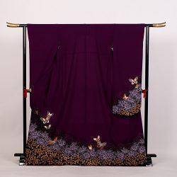 f-43 振袖 紫 牡丹 蝶