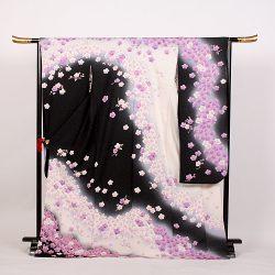 f-84 振袖 白黒地 白紫小梅