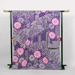 f-97 振袖 紫総絞り 大菊 梅 えん幕