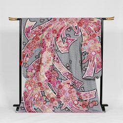 f-132  振袖 黒赤総絞 束熨斗 鹿の子花