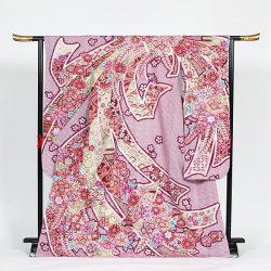 f-75  振袖 赤総絞 束熨斗 鹿の子花