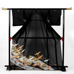 st-9 絽留袖 熨斗に松・扇面と鶴