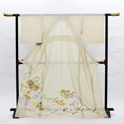 si-3 絽色留袖 ベージュ 巻物に秋草