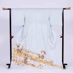 si-4 絽留袖 水色 熨斗に花車