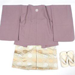 紫無地 3歳羽織袴セット