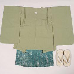 緑無地 3歳羽織袴セット