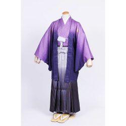 紫ぼかし紋付 羽織袴セット