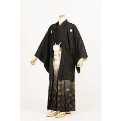 黒紋付 地紋羽織・柄袴セット