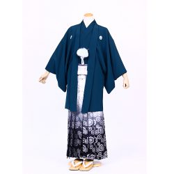 鉄紺色紋付 羽織袴セット