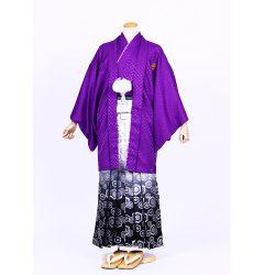 紫ラメ色紋付 羽織袴セット