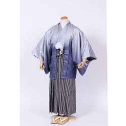 男の子・羽織袴 グレーぼかし羽織袴セット 小学生用サイズ