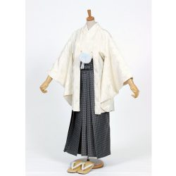 男の子・羽織 柄袴セット 白 小学生用サイズ