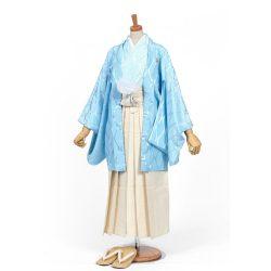 男の子・羽織 柄袴セット 水色 小学生用サイズ
