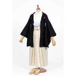 男の子・羽織 柄袴セット 黒×白 小学生用サイズ