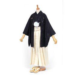 男の子・羽織 柄袴セット 黒×黒 小学生用サイズ