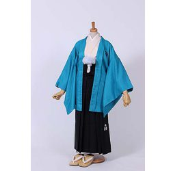 男の子・ブルー羽織 刺繍袴セット 小学生用サイズ
