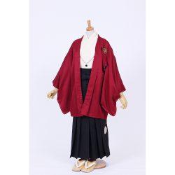 男の子・エンジ羽織 刺繍袴セット 小学生用サイズ