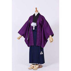 男の子・紫羽織 刺繍袴セット 小学生用サイズ