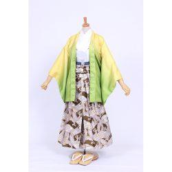 男の子・黄色ぼかし・龍袴セット 小学生用サイズ