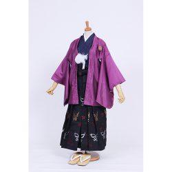 男の子・紫小市松柄羽織・隈取袴セット 小学生用サイズ