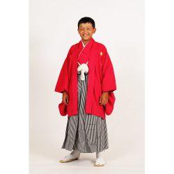 男の子・羽織袴 赤 小学生専用サイズ