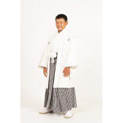 男の子・羽織袴 白 小学生専用サイズ