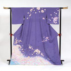 H-93 青紫地に桜模様 ゆったりサイズ